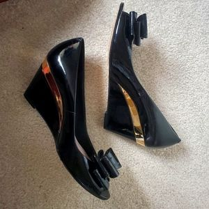 Size 7.5 Black and Gold Vince Camuto Heeled Wedges